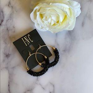 """INC Gold Large Black Beaded Bead Hoop Earrings 2"""""""